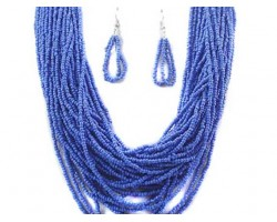Blue Beaded 20 Strand 36 Inch Long Necklace Set