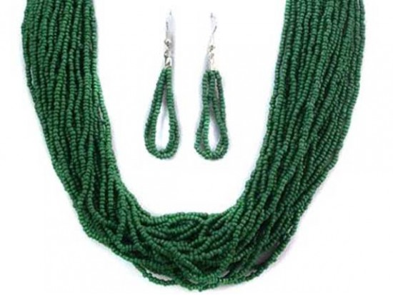 Green Beaded 20 Strand 36 Inch Long Necklace Set
