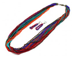 Multi Beaded 20 Strand 36 Inch Long Necklace Set