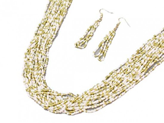 White Gold Beaded 20 Strand 36 Inch Long Necklace Set