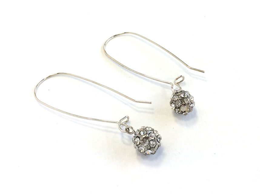 silver ball wire earrings kidney crystal
