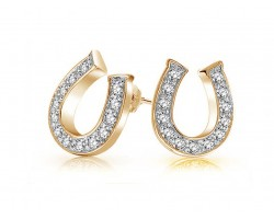 Clear Crystal Gold Horseshoe Post Earrings