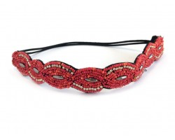 Coral Seed Bead Crystal Marquise Stretch Headband