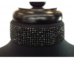 Black Jet Crystal Wide Choker