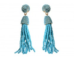 Turquoise Inlay Seed Bead Tassel Gold Post Earrings
