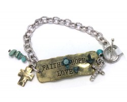 Antique Silver Faith Hope Love Chain Bracelet