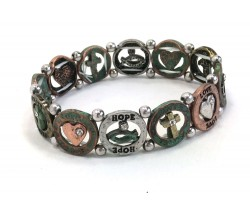 Patina Round Hope Love Fatih Stretch Bracelet