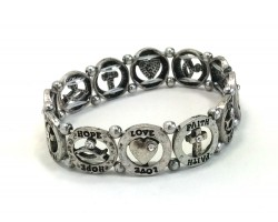 Silver Round Hope Love Faith Stretch Bracelet