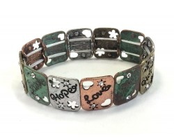 Patina Love Faith Hope Rectangle Stretch Bracelet