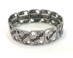 Silver Love Faith Hope Rectangle Stretch Bracelet