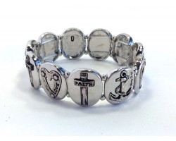 Silver Oval Anchor Heart Cross Stretch Bracelet