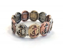 Tri-Color Oval Anchors Stretch Bracelet