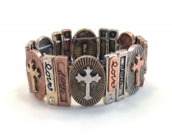 Tri-Color Oval Cross Rectangle Stretch Bracelet
