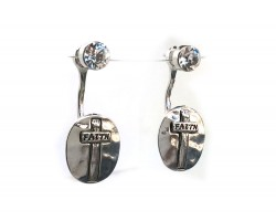 Silver Crystal Cross Oval FAITH Post Earring Jacket