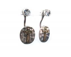2-Tone Crystal Cross Oval FAITH Post Earring Jacket
