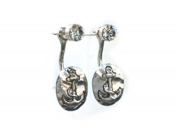 Silver Oval Anchor Clear Crystal Post Earring Jacket