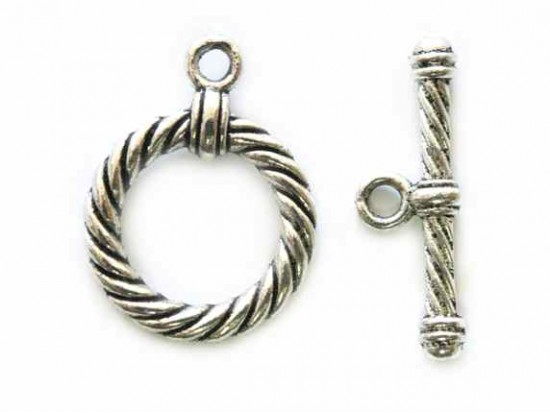 Antique Silver 18mm Rope Design Knobs T-bar Toggle
