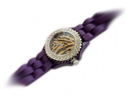LSU Tiger Silicone Strap Crystal Rim Watch Small