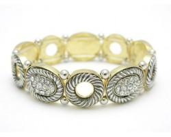 Gold Twist Rope Lined Crystal Pave Bracelet