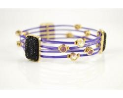 Jet Pave Charm & Purple Tigertail Wire Gold Plate Bracelet