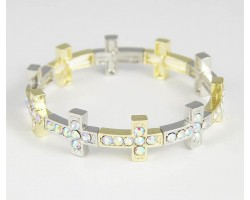 Silver & Gold Plate AB Crystal 14x18mm Cross Stretch Bracelet