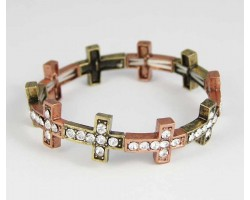 Antique Copper & Gold Plate Crystal 14x18mm Cross Stretch Bracelet