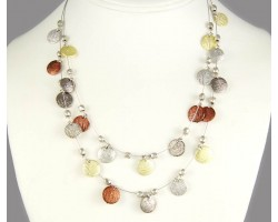 Tri Color Round Etched & Silver Bead Tigertail Necklace Set