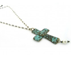 Oxidized Gold Distressed Cross Necklace