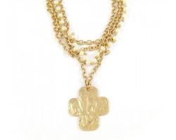 Distressed Antique Gold Plate Fleur De Lis Cross 3 Strand Necklace
