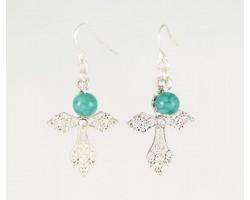 Silver Filigree Cross Crystal Turquoise Hook Earrings