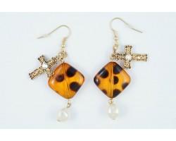 Tortoise Diamond Gold Cross Pearl Earrings