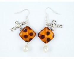 Tortoise Diamond Silver Cross Pearl Earrings