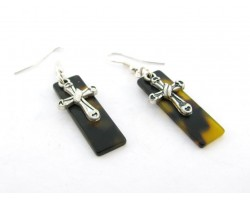 Silver Cross Tortoise Rectangle Hook Earrings