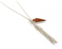 Wood Arrowhead Silver Tassel Necklace