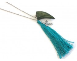Turquoise Tassel Wood Horn Cross Silver Necklace