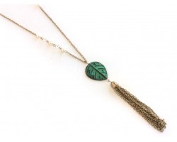 Patina Leaf Pearl Antique Gold Tassel Chain Necklace