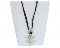 Silver Arrowhead Brown Leather Necklace