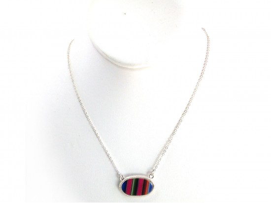 Silver Oval Serape Pattern Chain Necklace