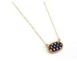 Gold Oval Tribal Pattern Chain Necklace