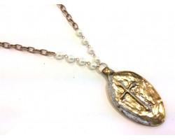 Gold Pearl Spoon Cross FAITH Necklace