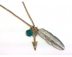 Antique Siver Arrow Feather Chain Necklace