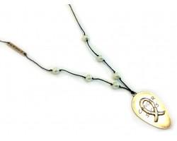 Gold Matt Spoon CANCER SUCKS Leather Necklace