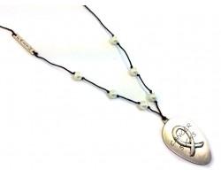 Silver Matt Spoon CANCER SUCKS Leather Necklace