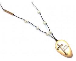 Gold Matt Spoon Cross SCREW CANCER Leather Necklace