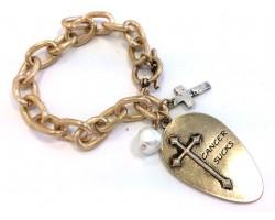 Gold Plate Matt Spoon Cross Chain Charm Bracelet