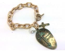 Patina Green Spoon Cross Chain Charm Bracelet
