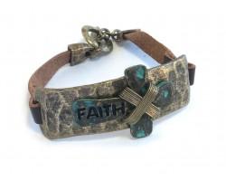 Antique Gold Cross FAITH Brown Leather Bracelet