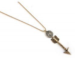 Gold Arrow Gold Plate Ball Chain Necklace