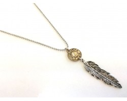Two Tone Feather Pendant on Ball Chain Necklace