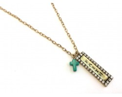 Antique Gold Plate Rectangle Faith Cross Chain Necklace